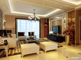 欧式装修效图 欧式客厅样板间
