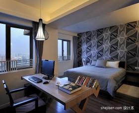 现代中式风格卧室书房装修效果图大全2012图片