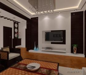 中式风格两室一厅客厅装修效果图