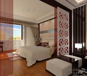 中式风格两室一厅卧室隔断装修效果图