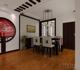 中式风格两室一厅餐厅吊顶装修效果图