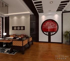 中式风格两室一厅客厅过道装修效果图