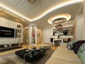 现代风格四室两厅两卫客厅与餐厅吊顶装修效果图