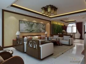 中式客厅吊顶装修效果图  中式风格装修图片