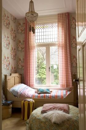 田园风格飘窗窗帘图片
