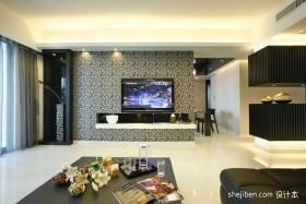 现代风格客厅电视背景墙壁纸效果图片