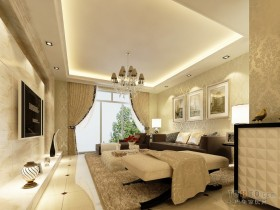 欧式两室一厅客厅装修效果图
