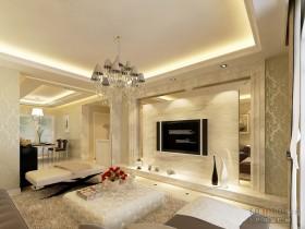 二室一厅90平米装修客厅与餐厅效果图