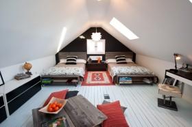 阁楼双人卧室装修效果图大全 斜顶阁楼卧室装修图片