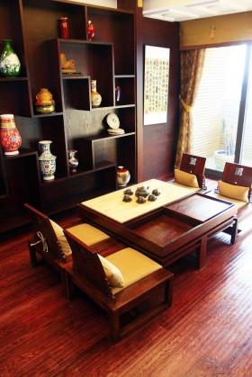 新中式风格书房红木博古架装修效果图