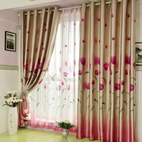 田园窗帘图片  双层窗帘装饰效果图