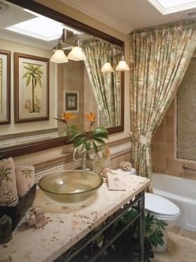 欧式卫生间窗帘效果图  洗手间装修效果图