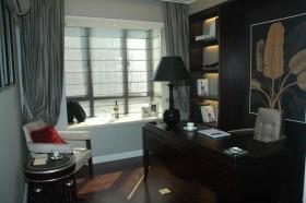 现代风格飘窗窗帘效果图  书房飘窗装修图片
