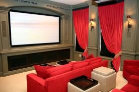 红色窗帘效果图  家居窗帘装修效果图