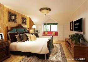欧式别墅主卧室装修效果图  别墅卧室飘窗装修设计图片