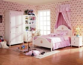 田园风格女生儿童房装修图片  儿童房背景墙装修效果图