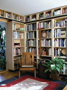 实木整体书柜图片
