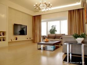 现代客厅窗帘效果图  客厅窗帘吊顶装修效果图