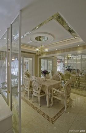 餐厅吊顶效果图 欧式奢华餐厅装修效果图