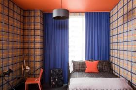 小卧室蓝色窗帘图片