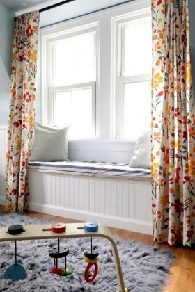 房间飘窗窗帘效果图