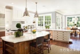 美式别墅厨房大理石台面装饰图片