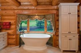美式卫生间窗帘装修效果图  卫生间浴缸设计图片