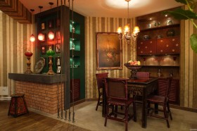 东南亚餐厅收纳柜效果图