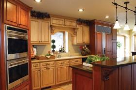 美式乡村别墅开放式厨房整体实木橱柜装修效果图大全