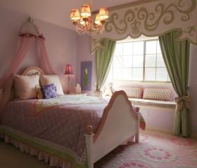 欧式田园婚房卧室装修效果图大全 卧室飘窗窗帘设计图片