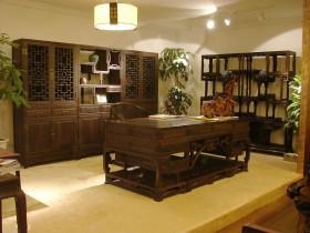 中式书房博古架效果图