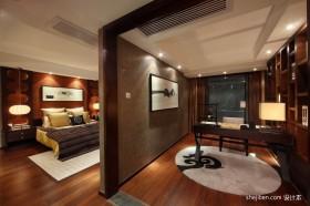 中式书房卧室隔断装修效果图