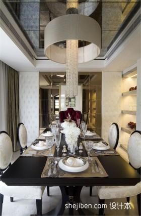 现代风格餐桌欧式现代别墅餐厅吊顶效果图