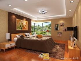 暖色调两室一厅卧室装修效果图