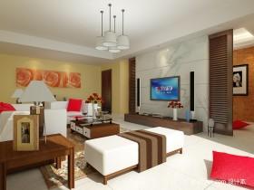 90平米两室一厅一卫客厅装修效果图
