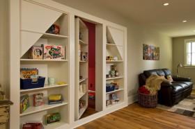 客厅隐形门效果图 收纳柜隐形门设计