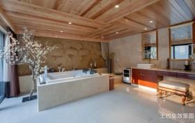 别墅卫生间木质吊顶装修效果图