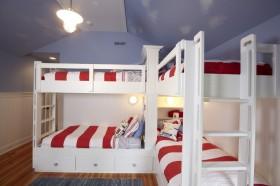 地中海风格儿童房上下铺装修效果图