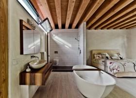美式卧室兼卫生间装修效果图