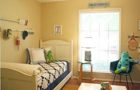 欧式简约小卧室暖色调装修效果图大全