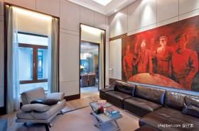 现代客厅沙发墙绘装修效果图