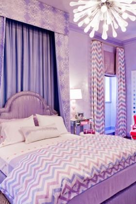 紫色卧室窗帘效果图