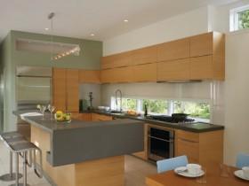 现代美式开放式厨房吧台设计装修图片