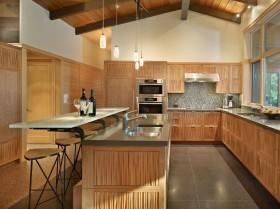 美式开房式厨房吧台装修设计