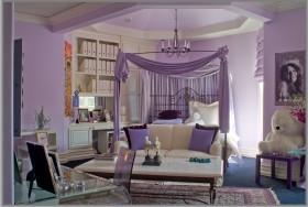 别墅卧室装修紫色墙壁效果图