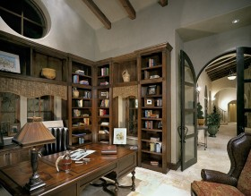 美式古典书房博古架装修效果图大全