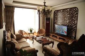 中式小户型客厅电视背景墙装修效果图