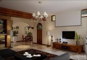 田园客厅装饰电视墙设计效果图