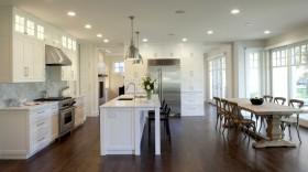现代别墅开放式厨房吧台装修效果图