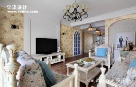 田园欧式风格三居室客厅背景墙效果图